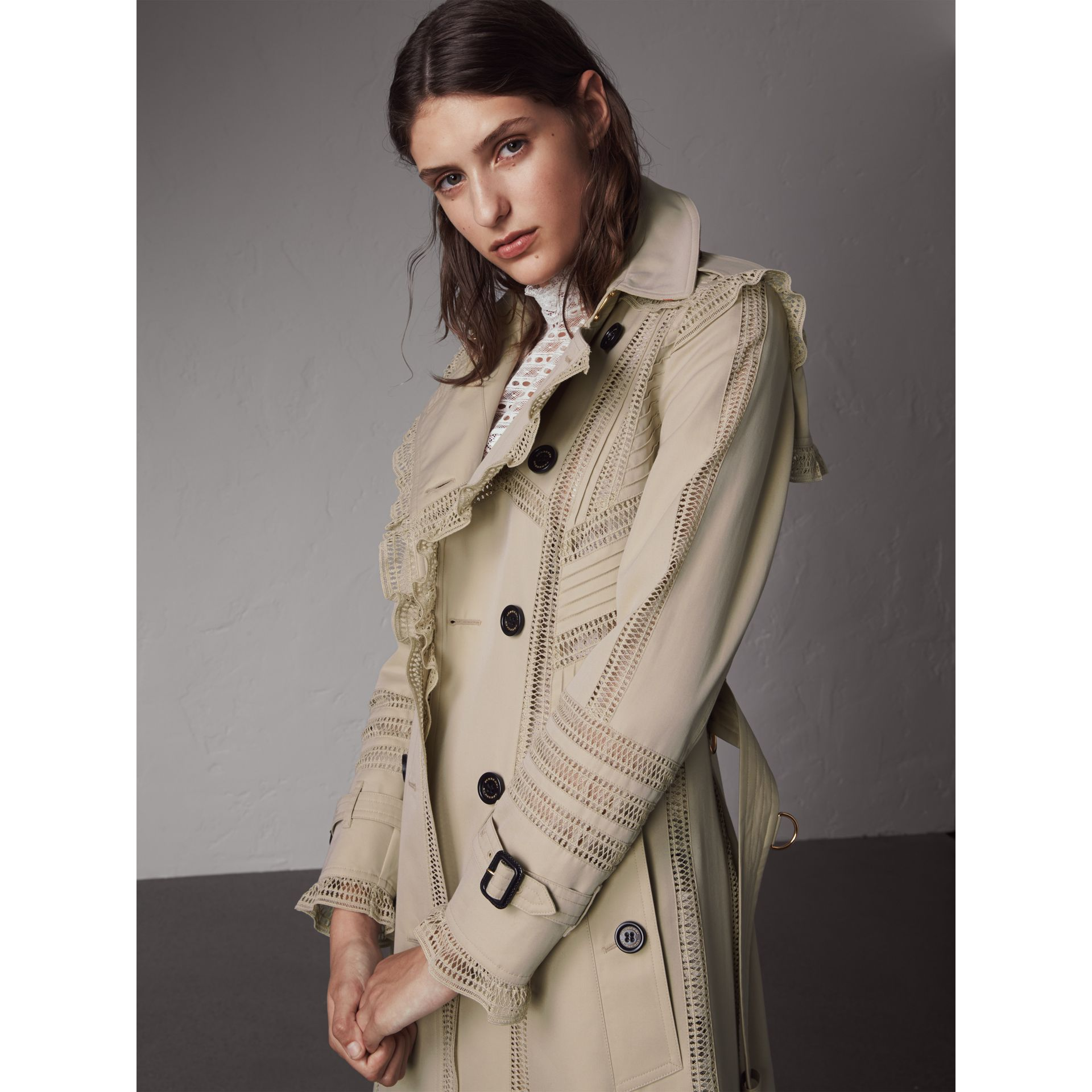 Lace Detail Cotton Gabardine Trench Coat - Women | Burberry - gallery image 1