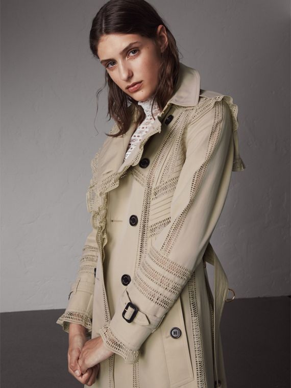 Lace Detail Cotton Gabardine Trench Coat - Women | Burberry Singapore