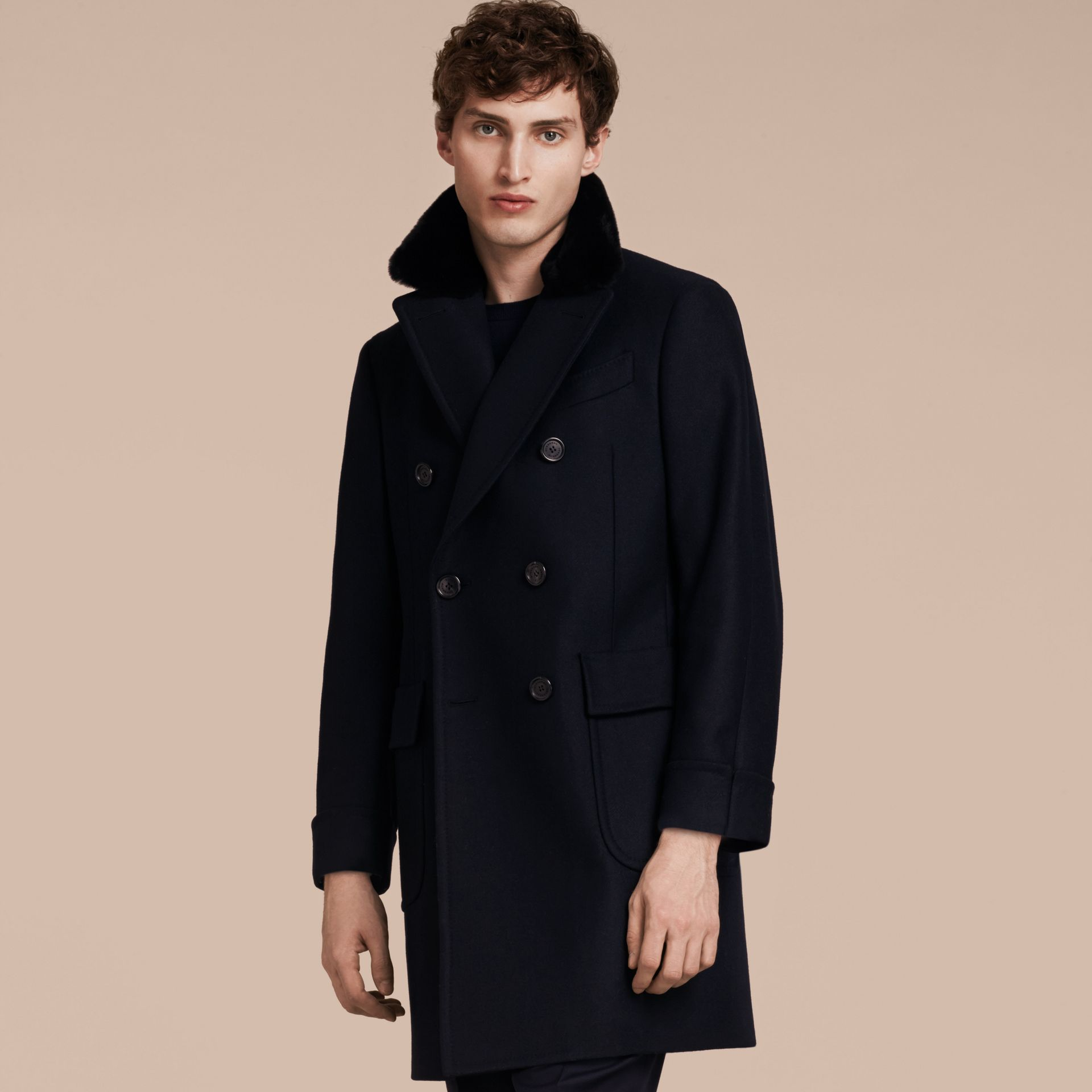 Navy Double-breasted Technical Wool Cashmere Fur Collar Coat - gallery image 7