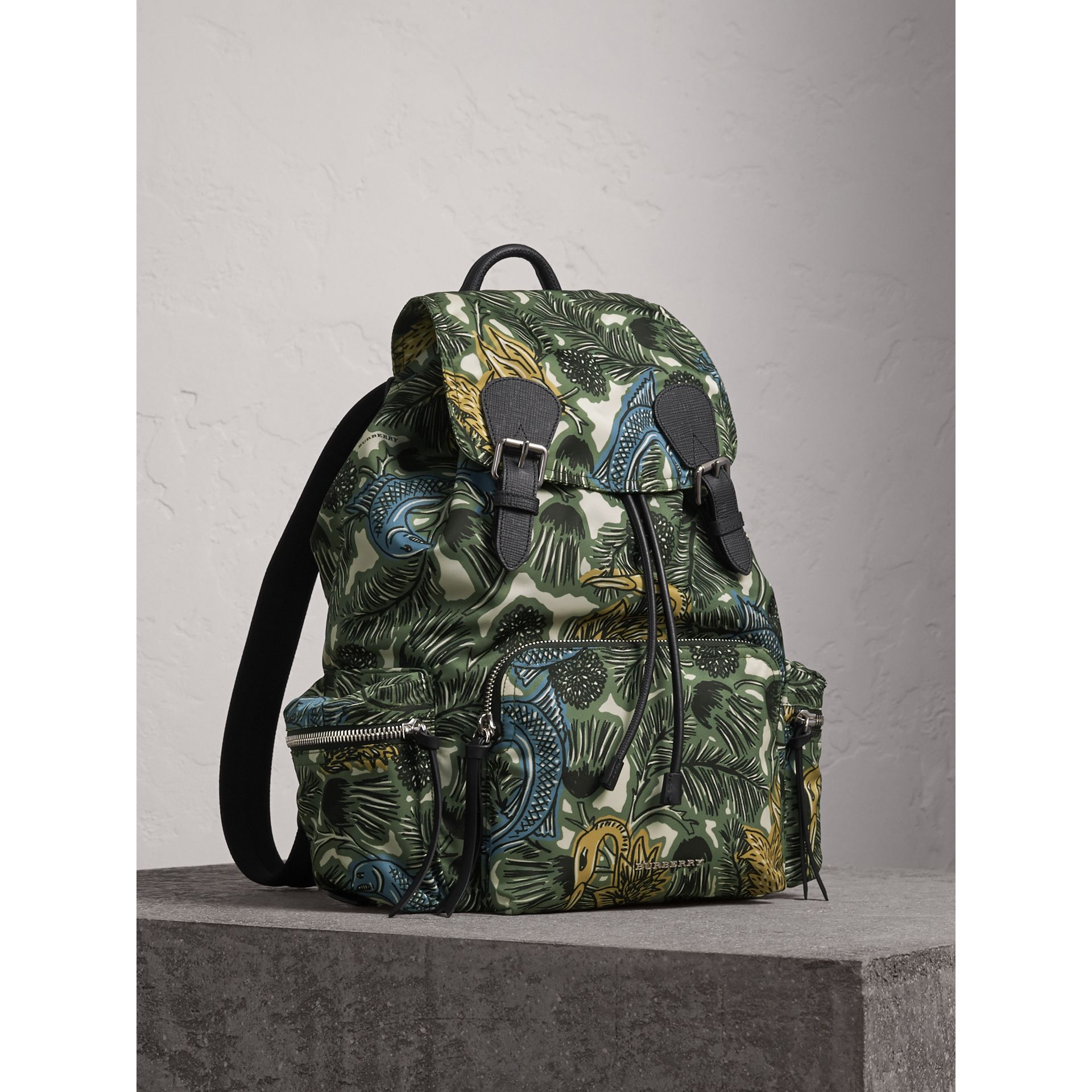 The Large Rucksack in Beasts Print Nylon and Leather in Sage Green - Men | Burberry - gallery image 1