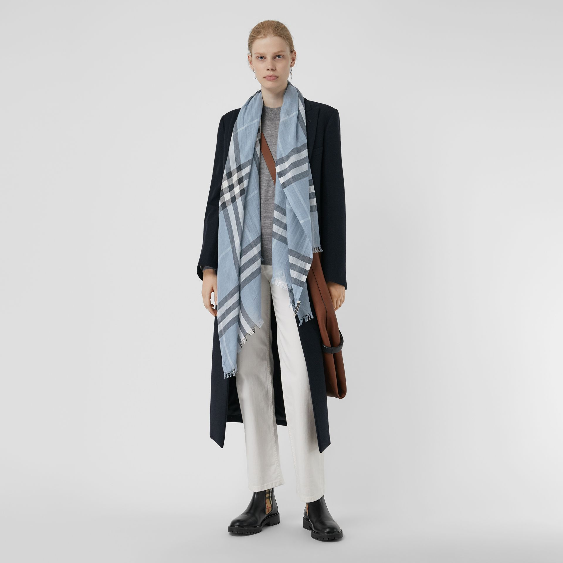 Lightweight Check Wool and Silk Scarf in Dusty Blue | Burberry Singapore - gallery image 2