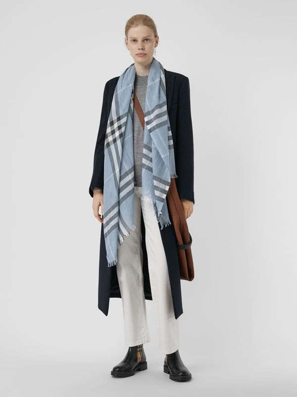 Lightweight Check Wool and Silk Scarf in Dusty Blue - Women | Burberry - cell image 2