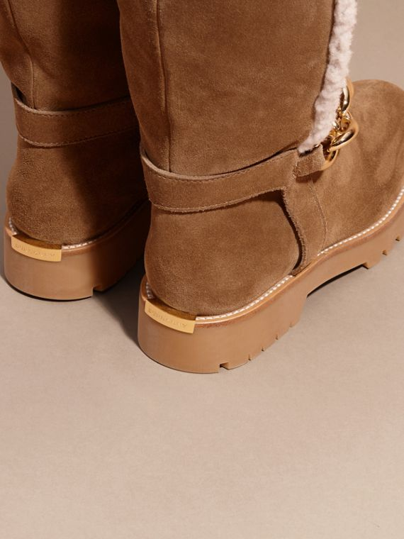 Light oak brown Chain Detail Shearling and Suede Boots - cell image 3