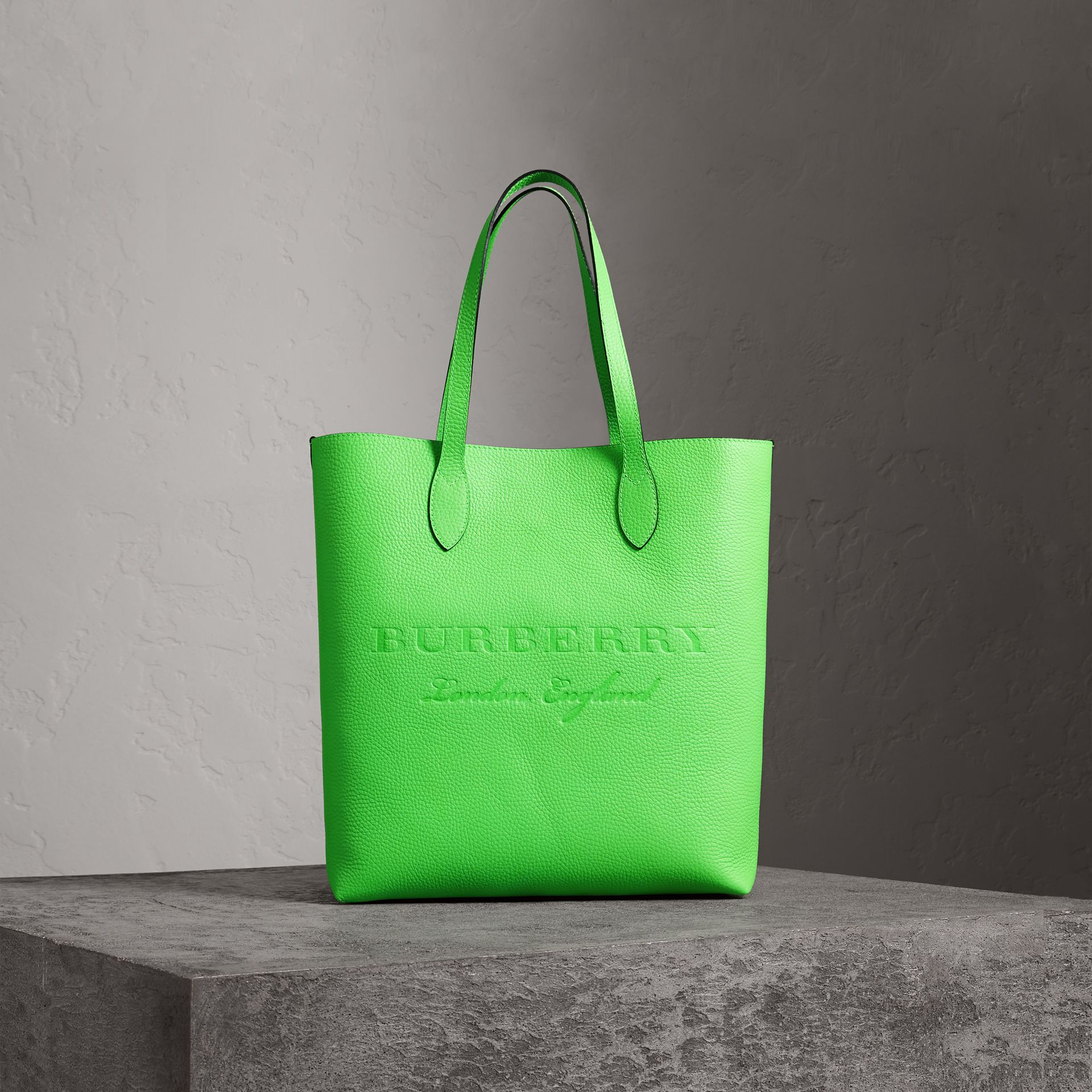 Embossed Leather Tote in Neon Green | Burberry Australia - gallery image 0