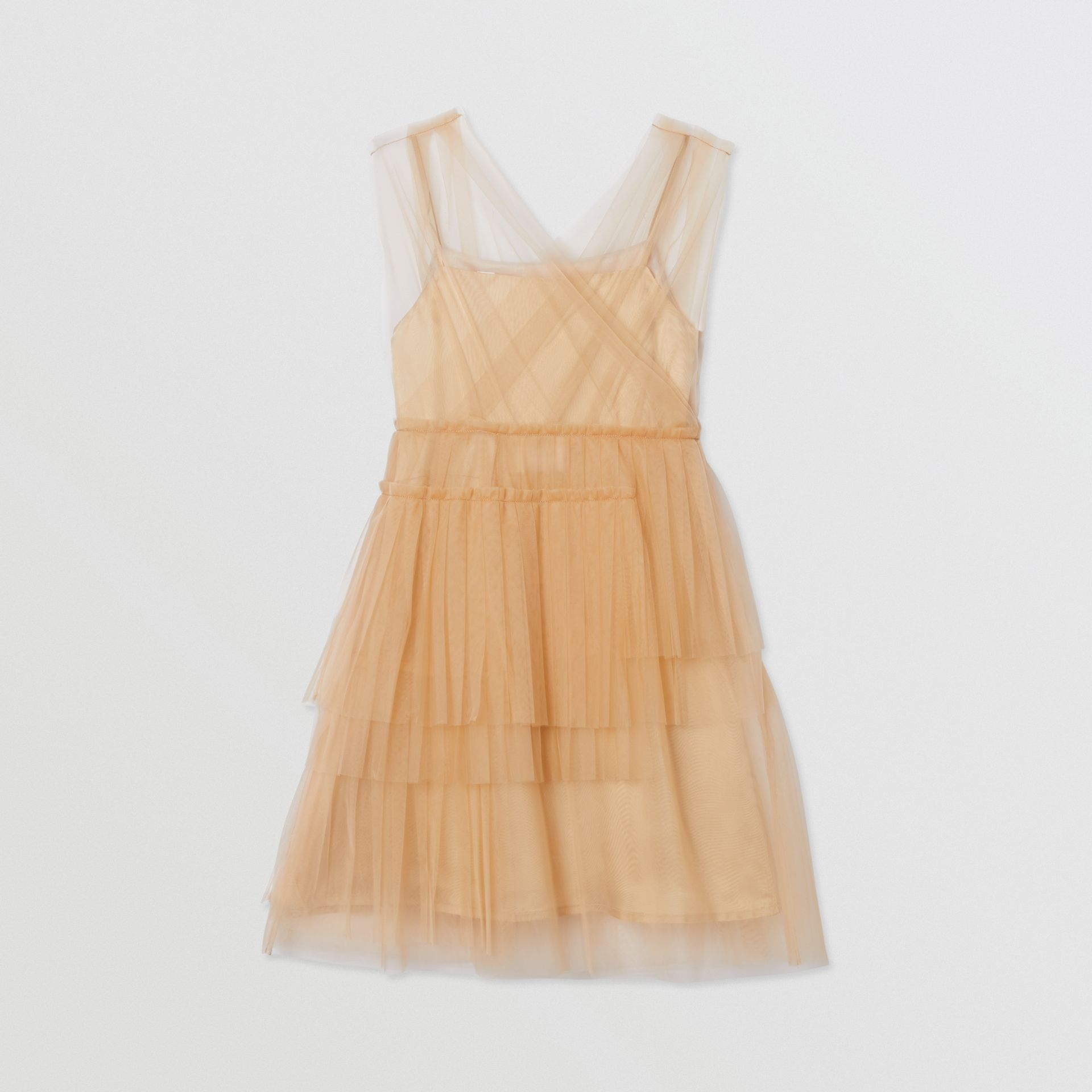 Tulle Tiered Dress in Oyster Beige | Burberry - gallery image 3