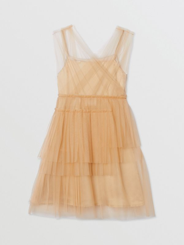 Tulle Tiered Dress in Oyster Beige | Burberry - cell image 3