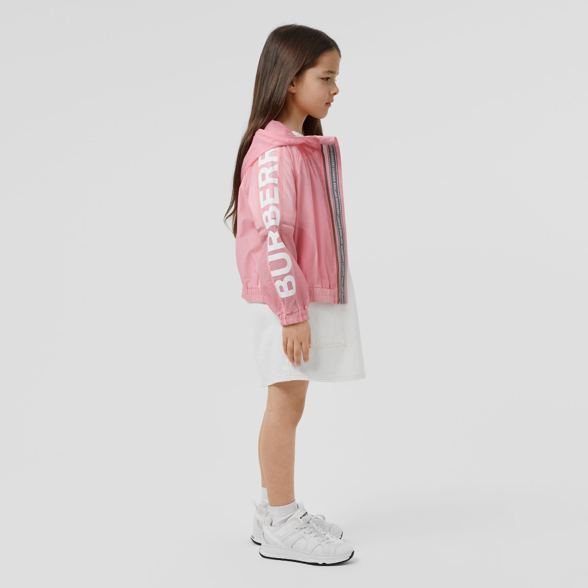 Star Detail Logo Print Lightweight Hooded Jacket in Candy Pink | Burberry - gallery image 2
