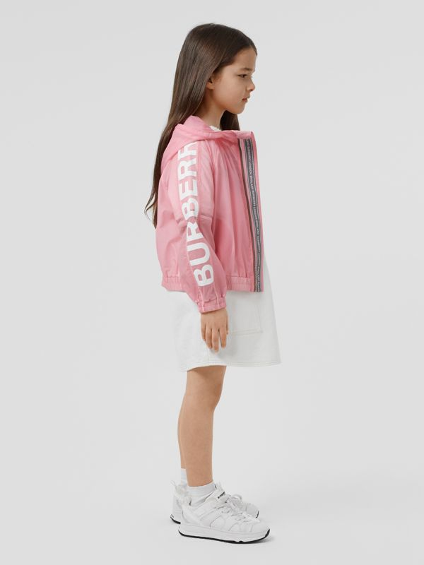 Star Detail Logo Print Lightweight Hooded Jacket in Candy Pink | Burberry - cell image 2