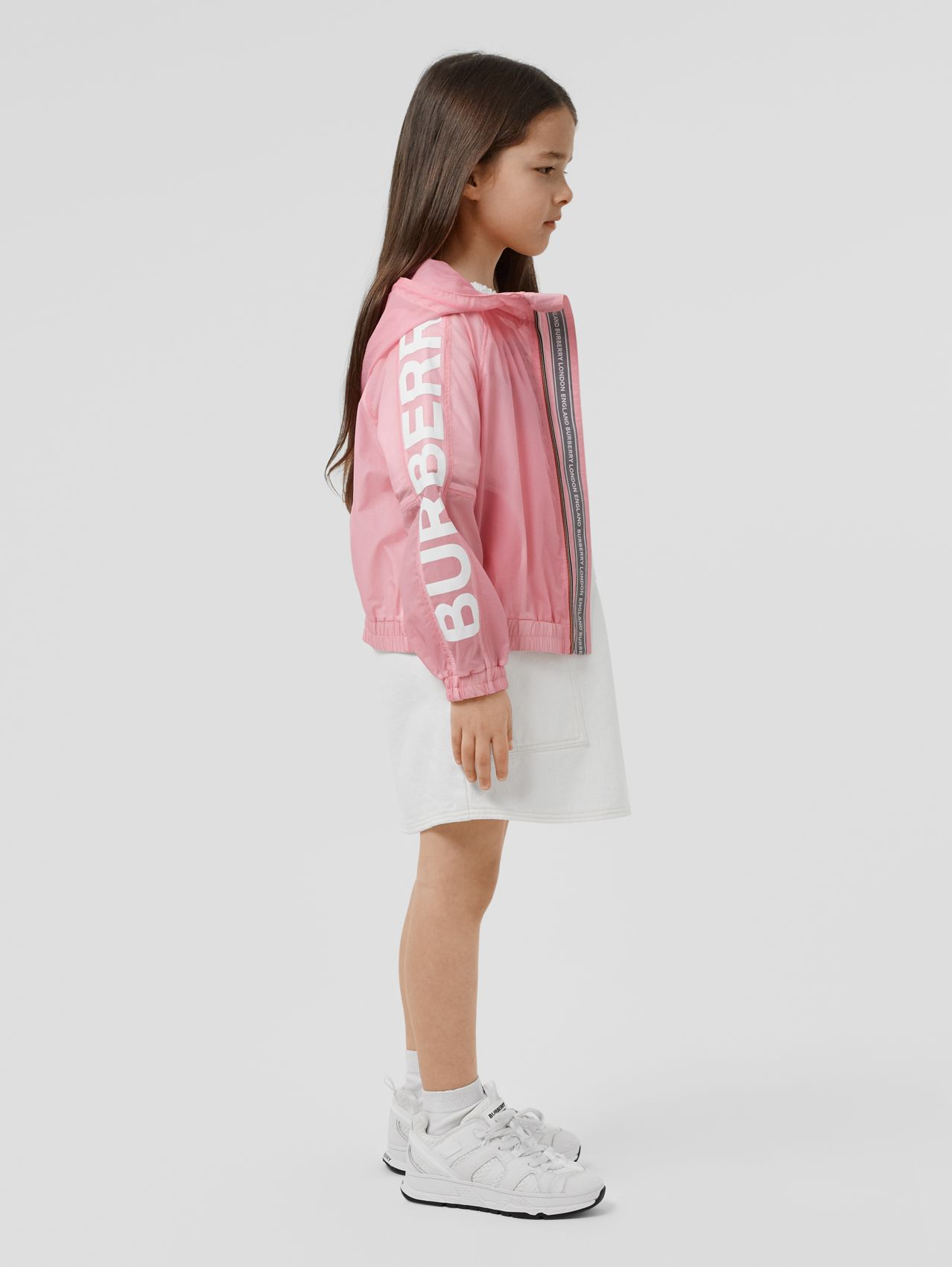 Star Detail Logo Print Lightweight Hooded Jacket in Candy Pink