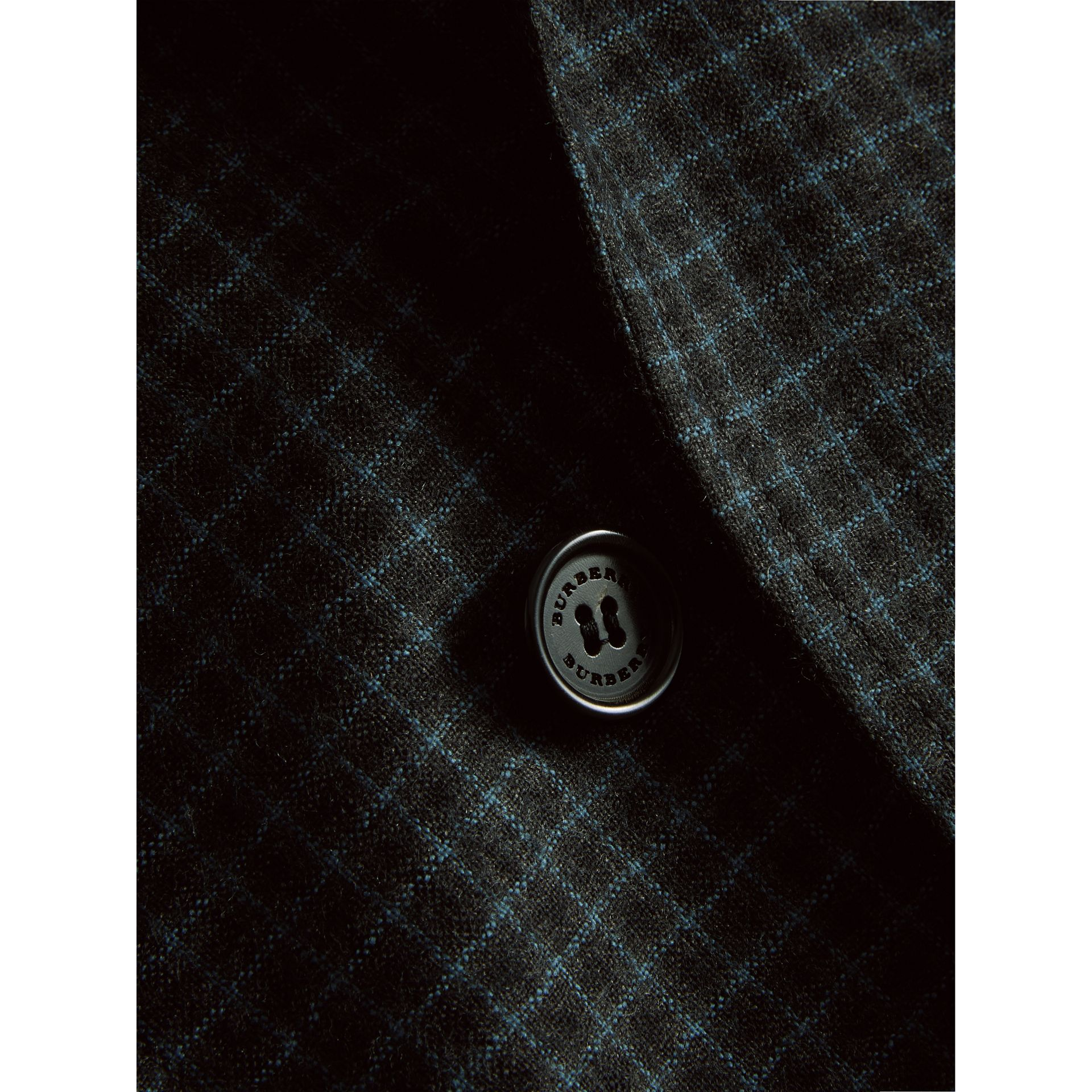 Soho Fit Micro Check Wool Flannel Tailored Jacket in Dark Grey Melange - Men | Burberry Canada - gallery image 1