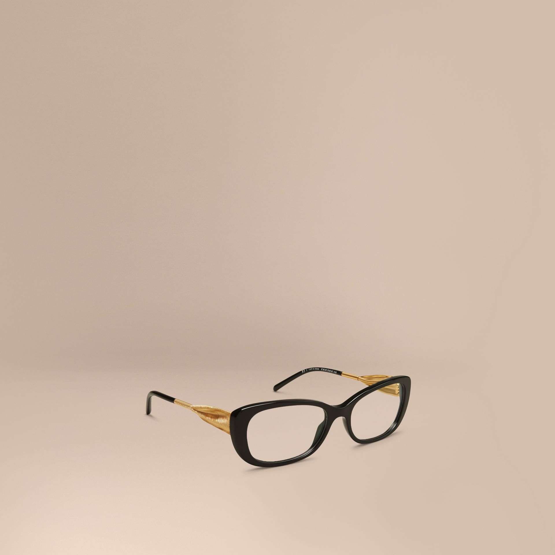 Black Gabardine Collection Oval Optical Frames Black - gallery image 1