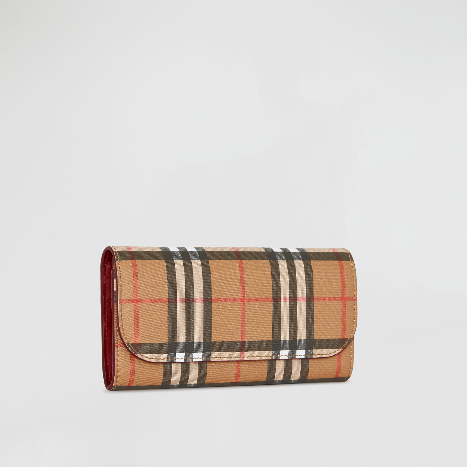 Vintage Check and Leather Continental Wallet in Crimson - Women | Burberry United States - gallery image 4