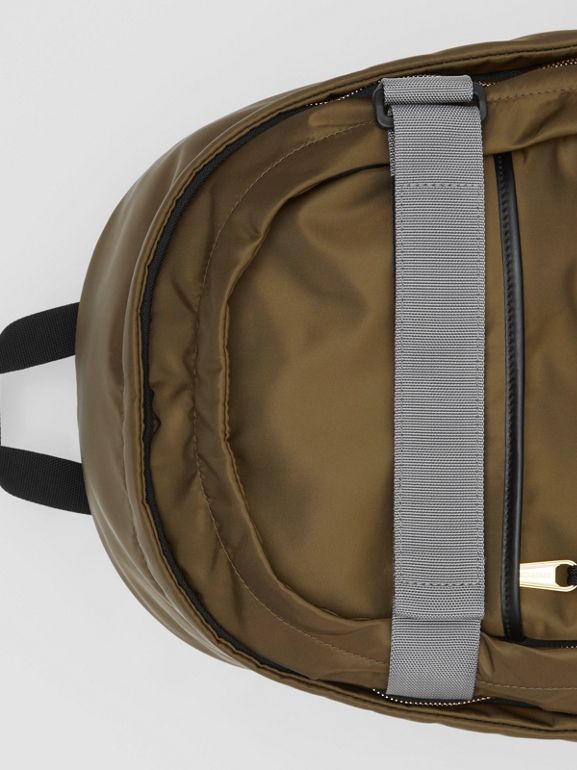 Medium Leather Trim ECONYL® Nevis Backpack in Khaki | Burberry United Kingdom - cell image 1