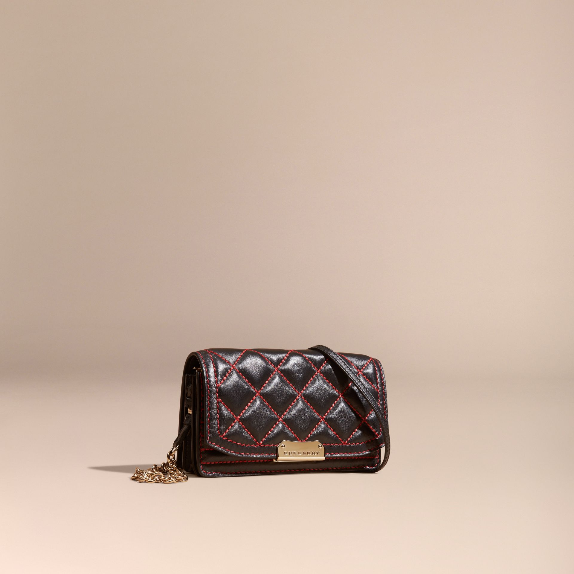 Black/ parade red Quilted Leather Clutch Bag with Chain - gallery image 1