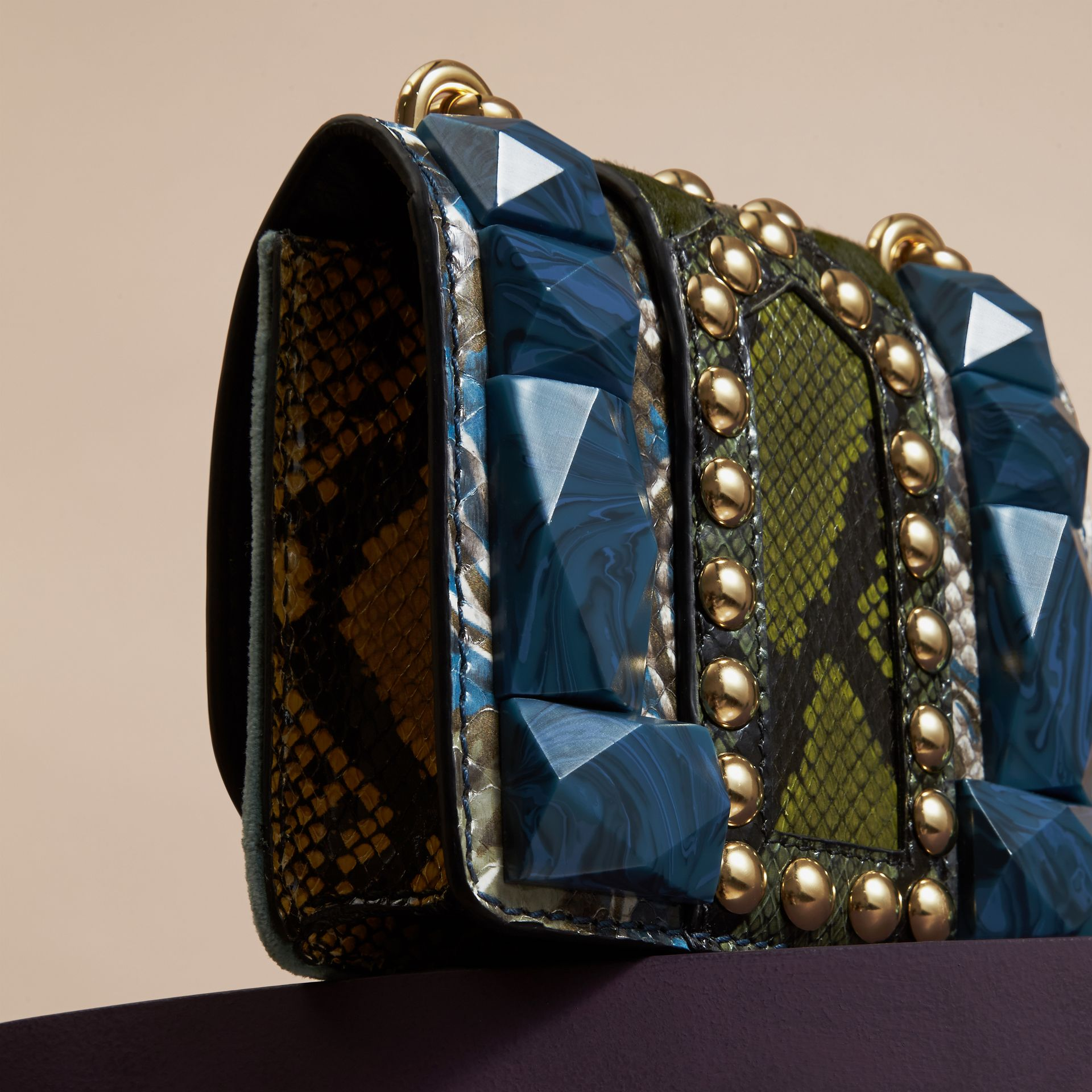 Pale opal The Mini Square Buckle Bag in Velvet and Snakeskin - gallery image 5