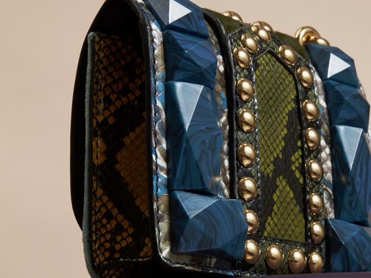 The Mini Square Buckle Bag in Velvet and Snakeskin Pale Opal - cell image 4
