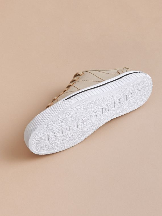 Topstitched Cotton Gabardine Trainers in Honey - Women | Burberry - cell image 3