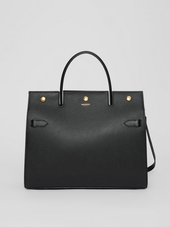 Medium Leather Title Bag in Black