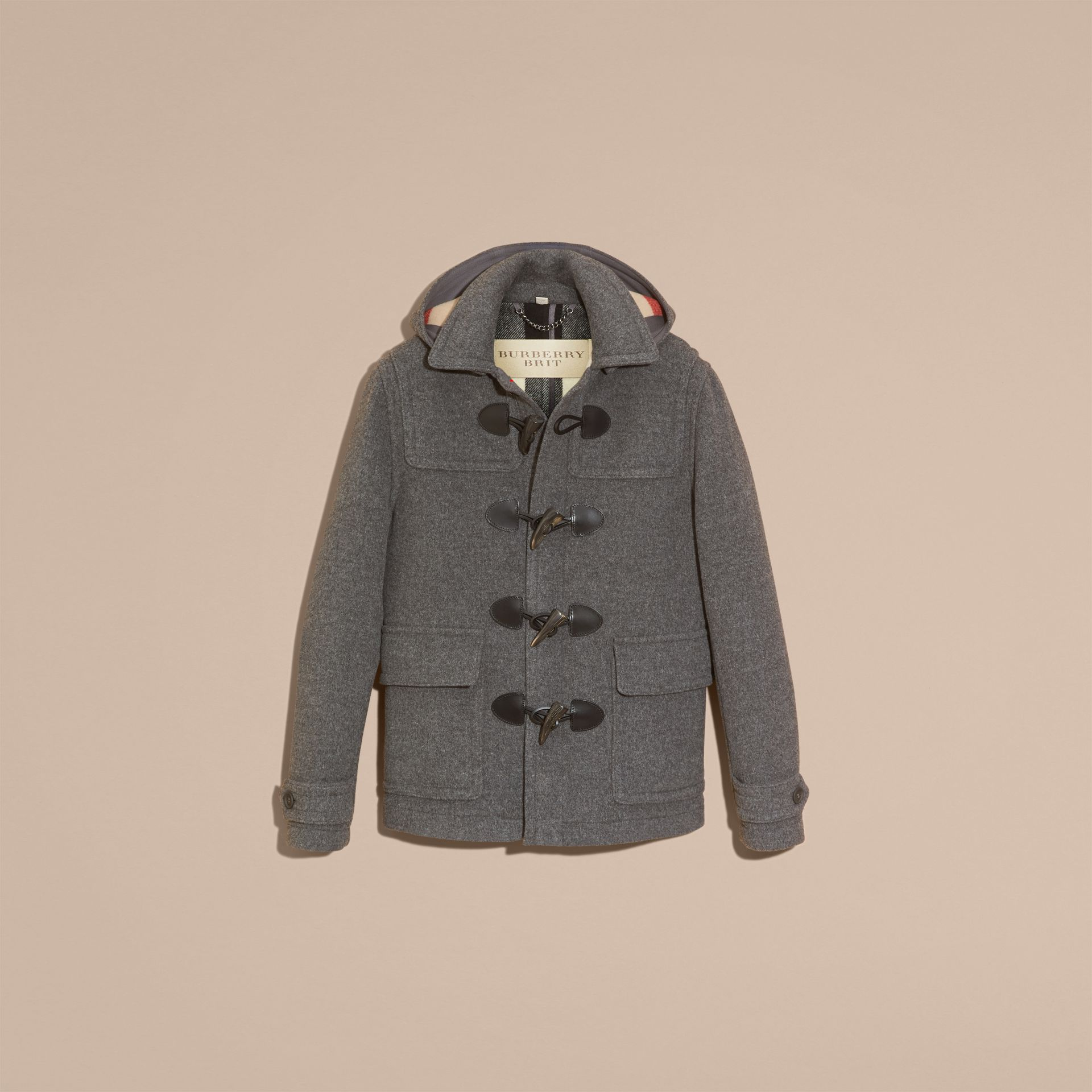Mid grey melange Wool Detachable Hood Duffle Jacket - gallery image 4