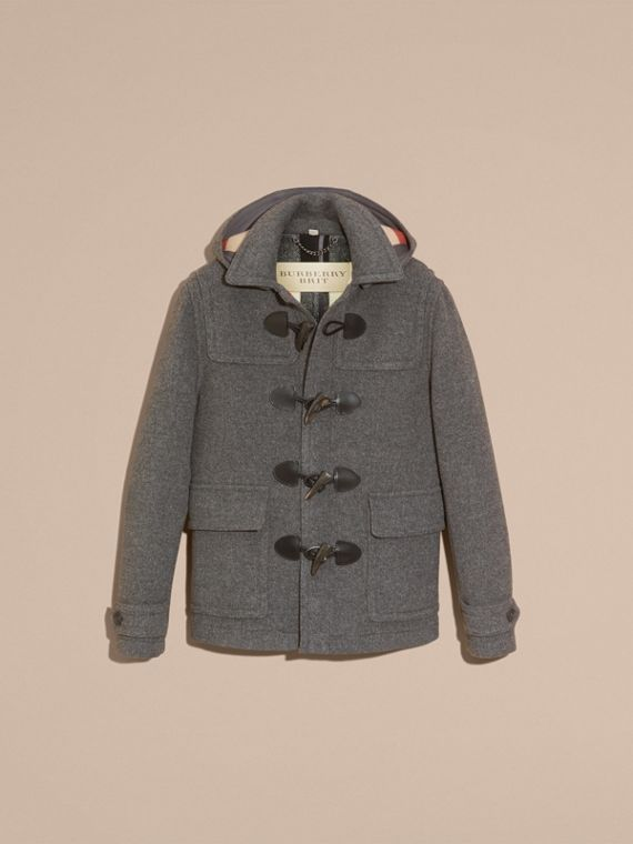 Mid grey melange Wool Detachable Hood Duffle Jacket - cell image 3