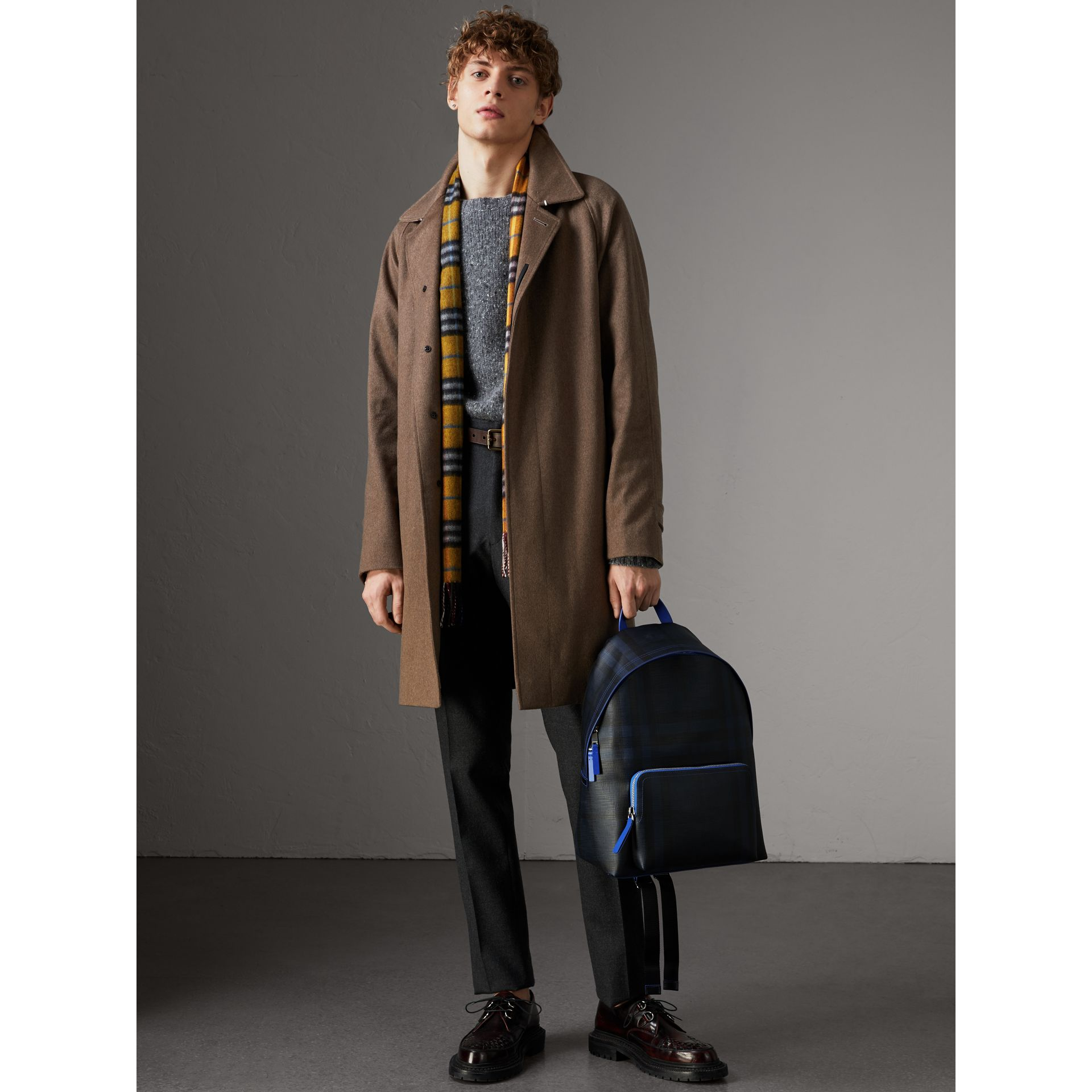 Leather Trim London Check Backpack in Navy/blue - Men | Burberry - gallery image 2