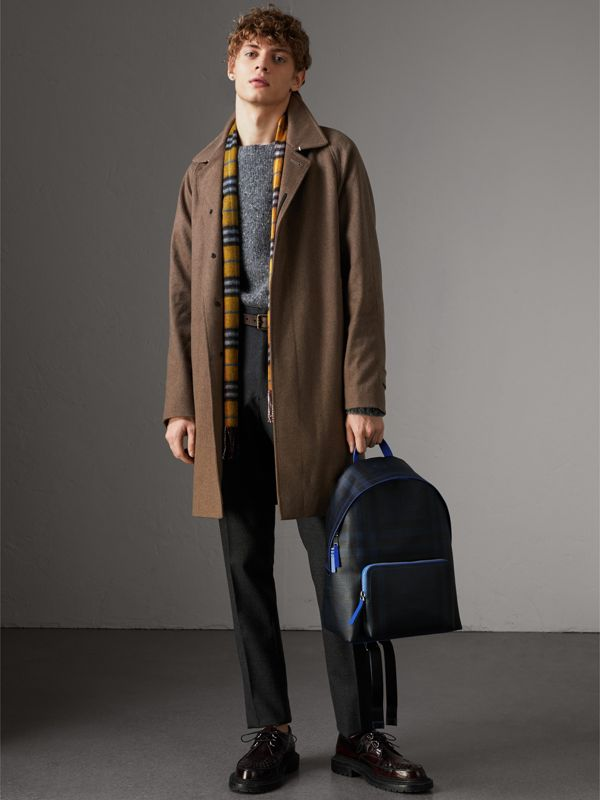 Leather Trim London Check Backpack in Navy/blue - Men | Burberry - cell image 2