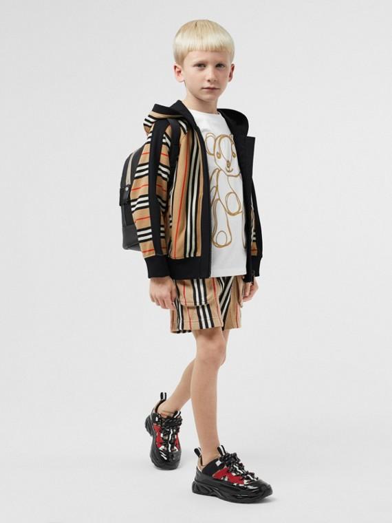Icon Stripe Cotton Drawcord Shorts in Archive Beige