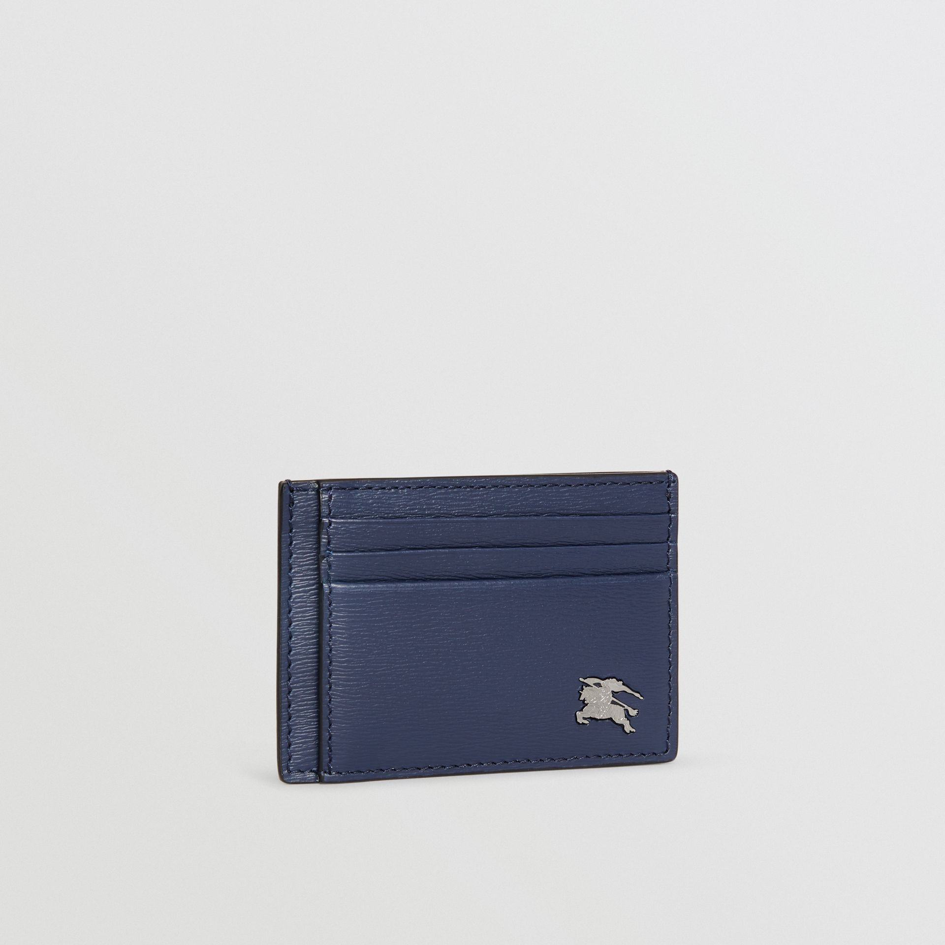 London Leather Money Clip Card Case in Navy - Men | Burberry - gallery image 3