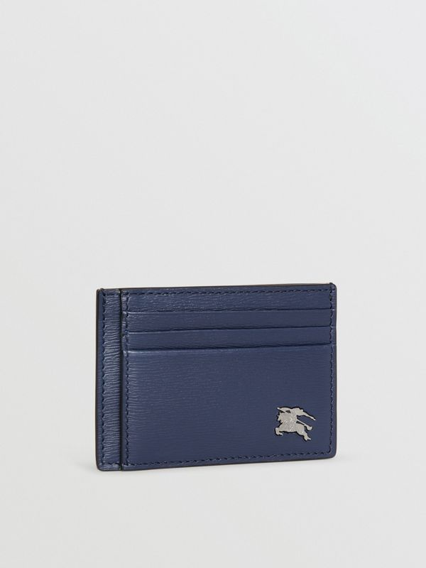 London Leather Money Clip Card Case in Navy - Men | Burberry - cell image 3