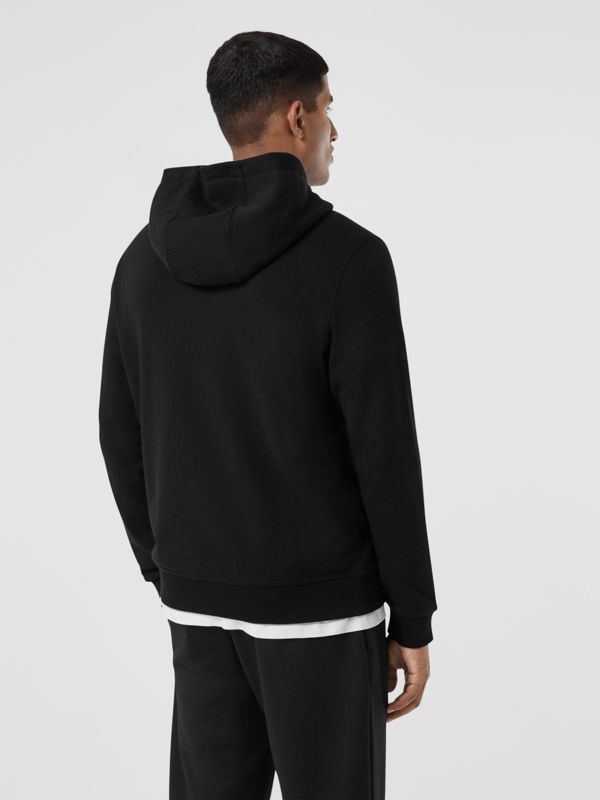 Logo Appliqué Cotton Hoodie in Black - Men | Burberry - cell image 2