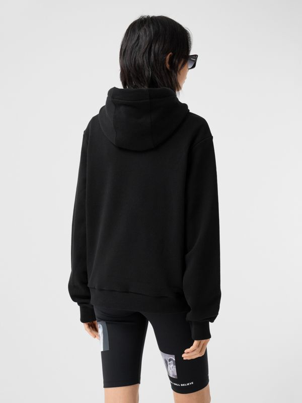 Unicorn Print Cotton Oversized Hoodie in Black - Women | Burberry Hong Kong S.A.R - cell image 2