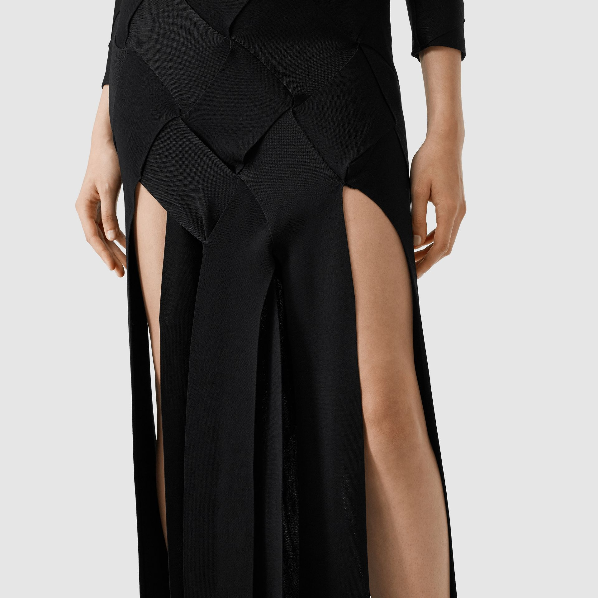 Long-sleeve Panelled Knit Gown in Black - Women | Burberry United Kingdom - gallery image 1