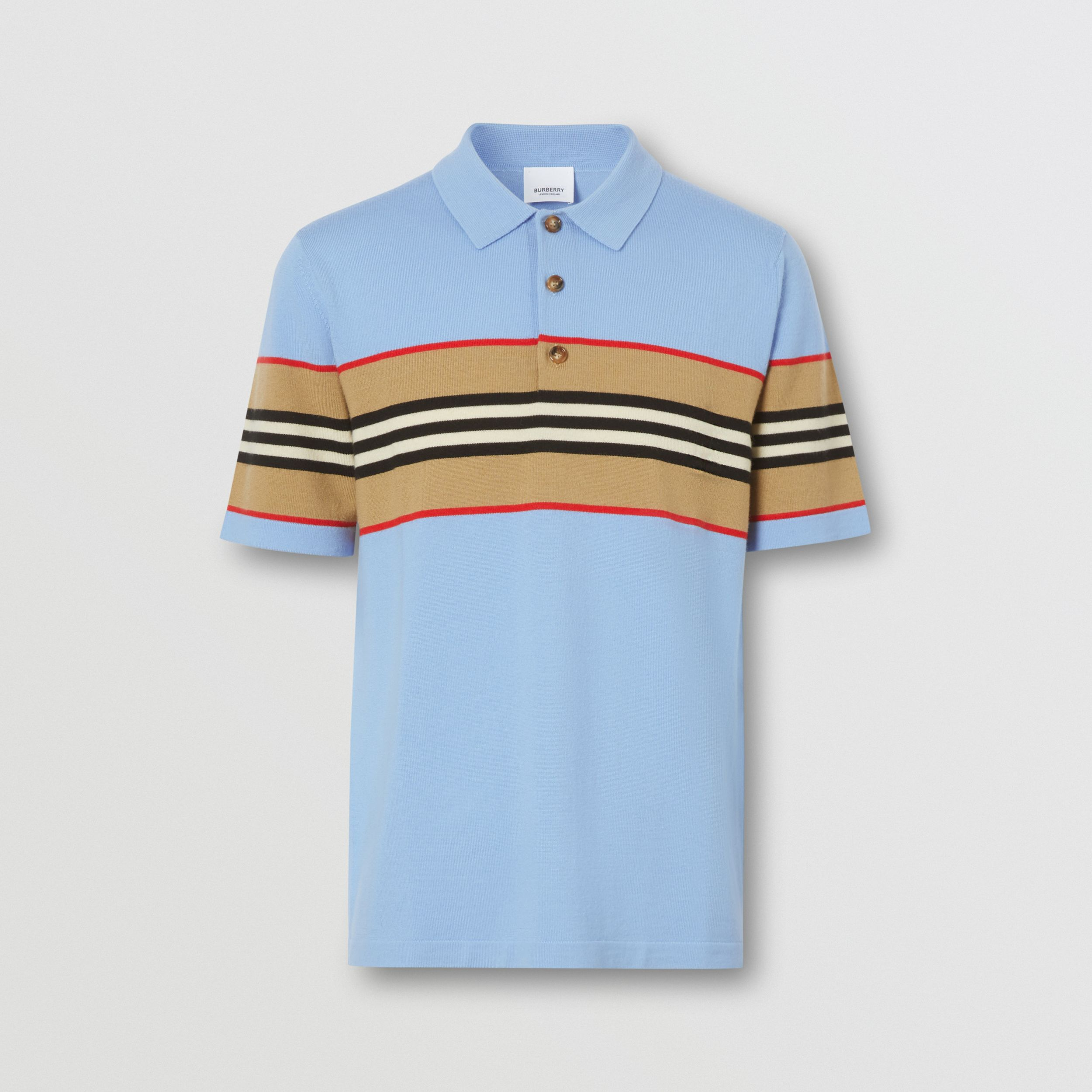 Icon Stripe Detail Merino Wool Polo Shirt in Pale Blue - Men | Burberry - 4