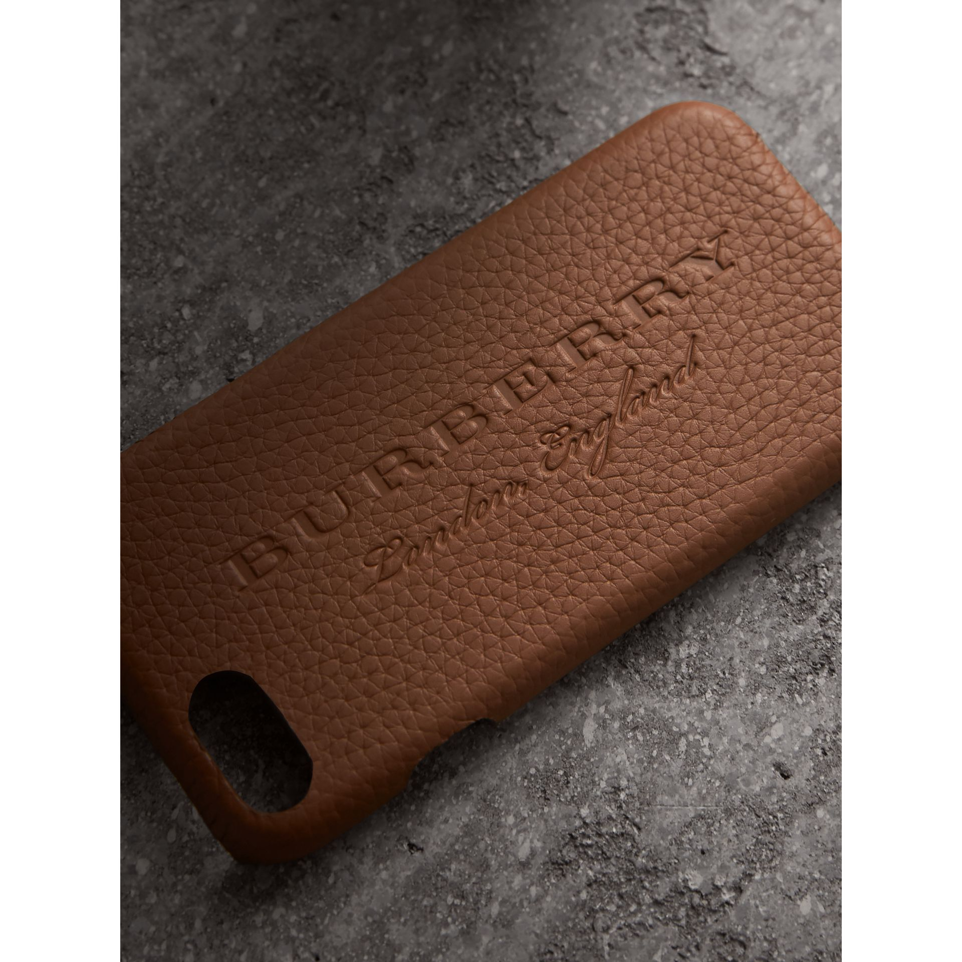 London Leather iPhone 7 Case in Chestnut Brown | Burberry - gallery image 1