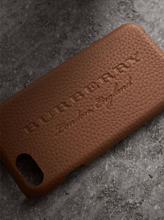 London Leather iPhone 7 Case in Chestnut Brown | Burberry - cell image 1