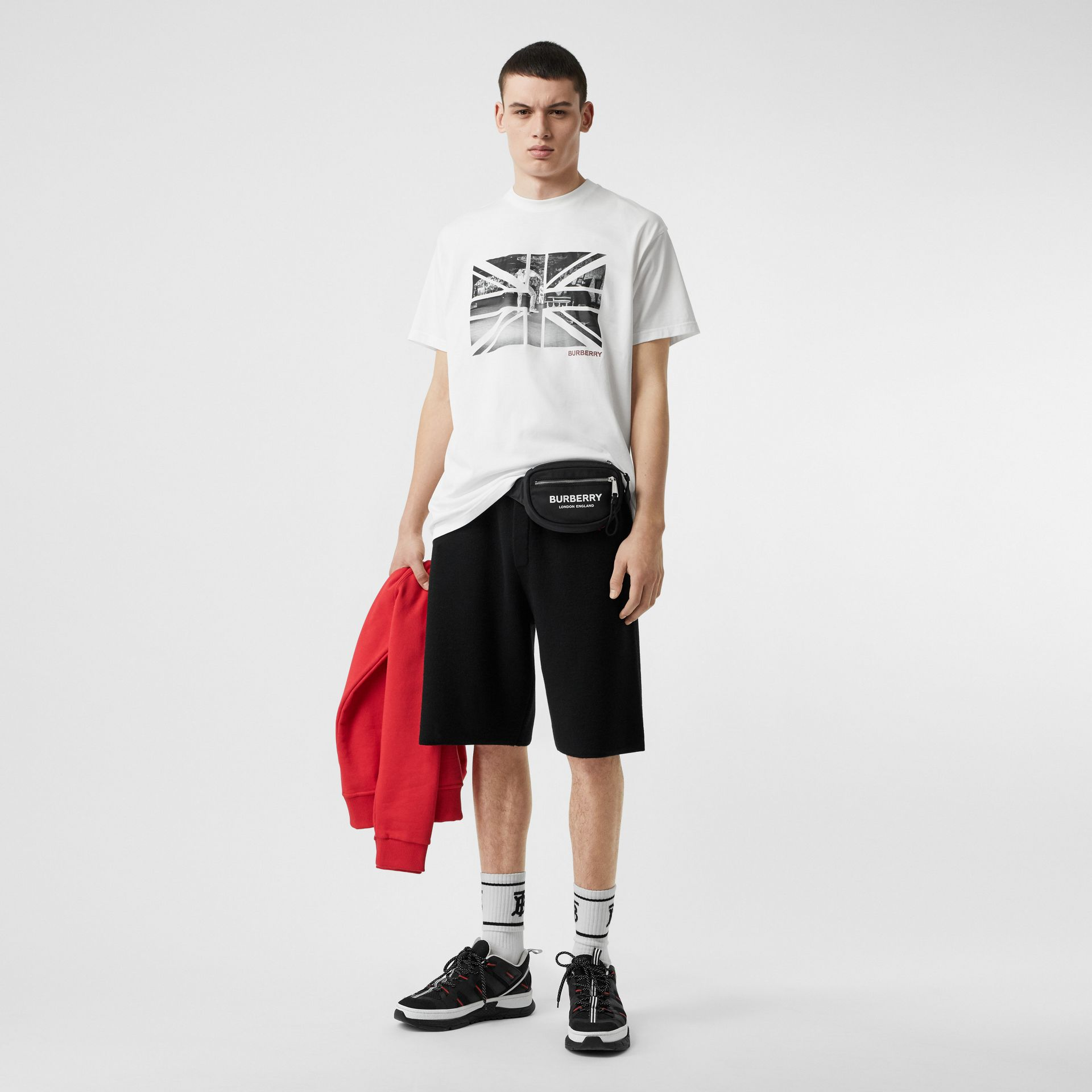 T-shirt oversize en coton avec photo Union Jack (Blanc) - Homme | Burberry Canada - photo de la galerie 0