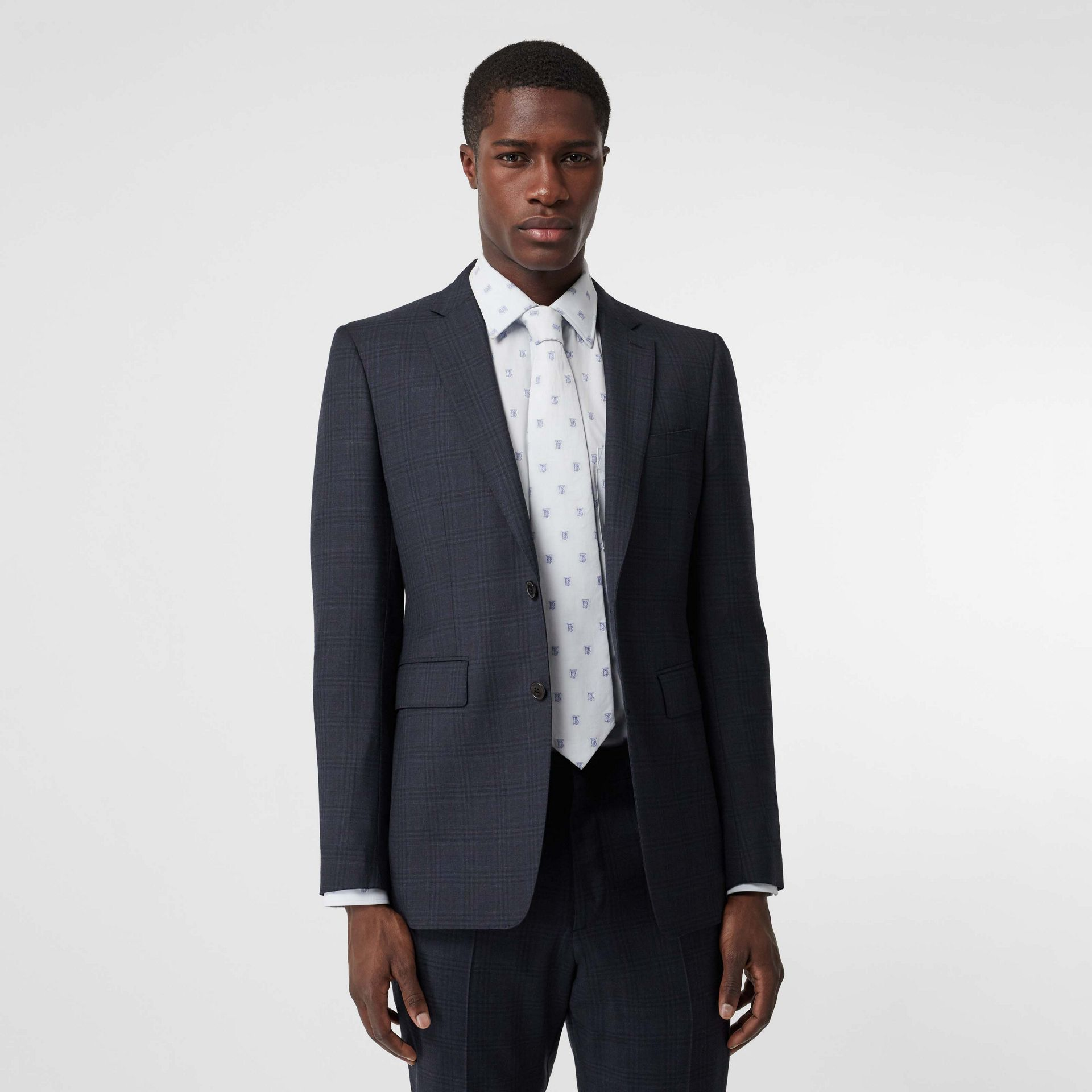 Classic Fit Windowpane Check Wool Suit in Uniform Blue - Men | Burberry Singapore - gallery image 7