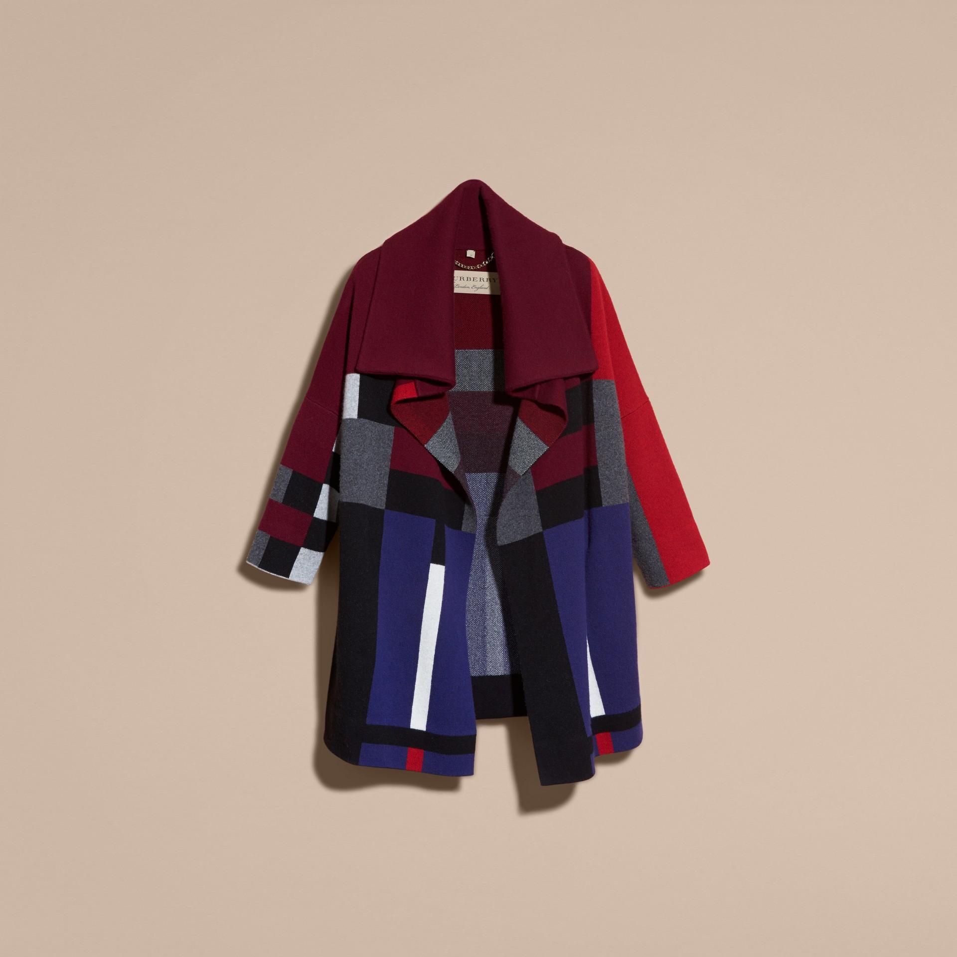 Nero Cappotto cardigan in lana e cashmere con motivo tartan - immagine della galleria 4