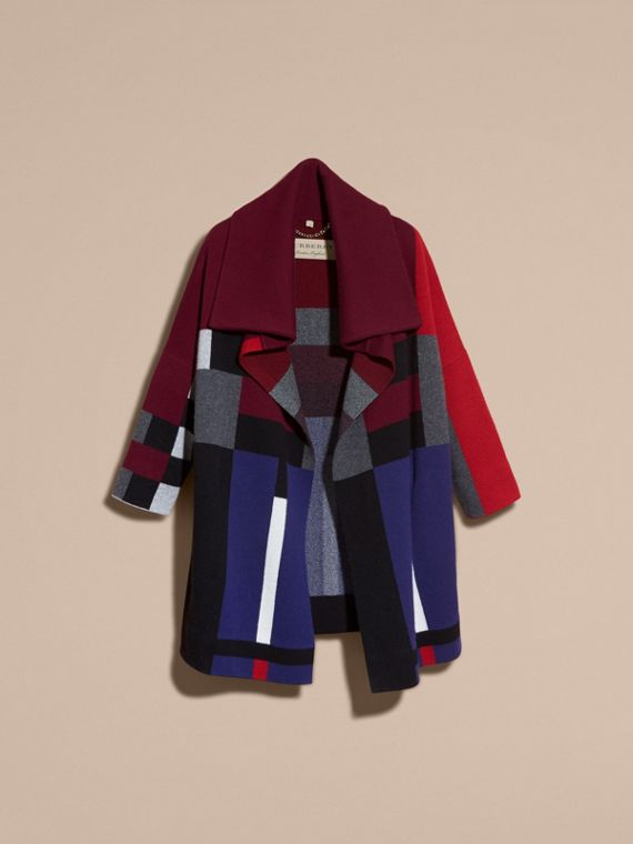 Noir Manteau cardigan en laine et cachemire à motif check - cell image 3