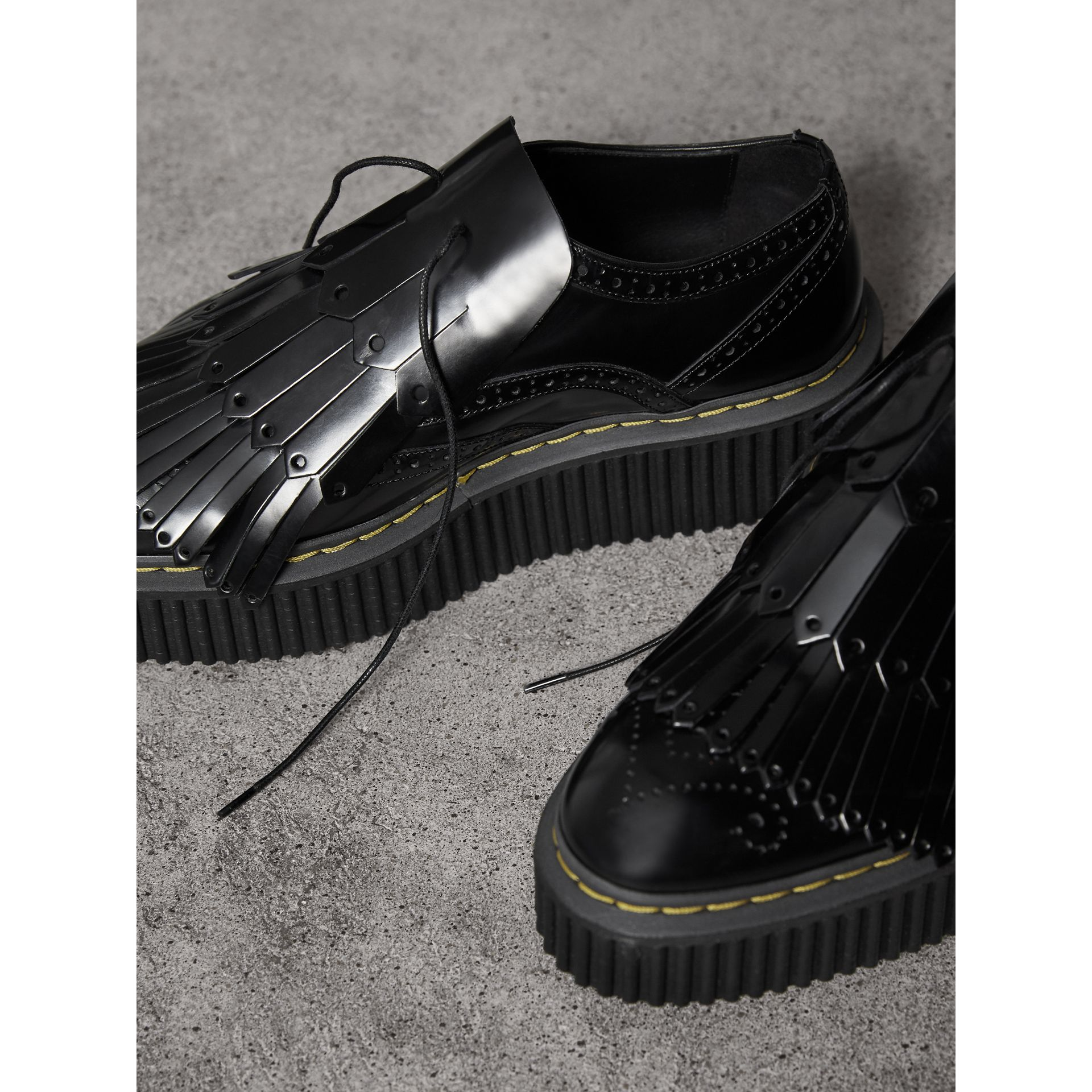 Lace-up Kiltie Fringe Leather Shoes in Black - Women | Burberry - gallery image 5