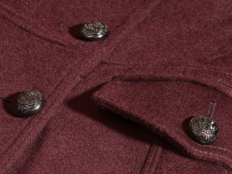 Deep plum Wool Cashmere Military Coat - cell image 1