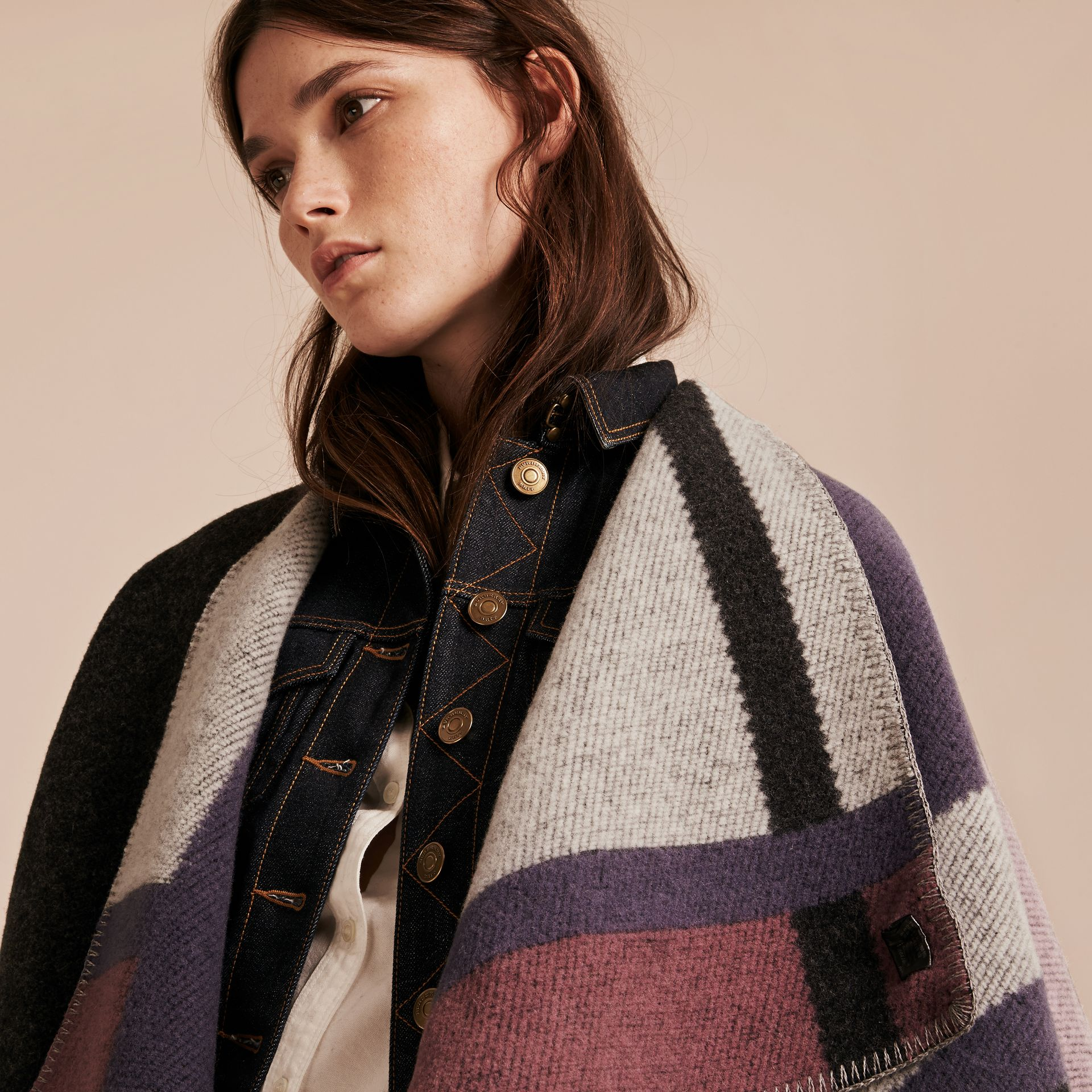 Mauve pink Check Wool and Cashmere Blanket Poncho - gallery image 5