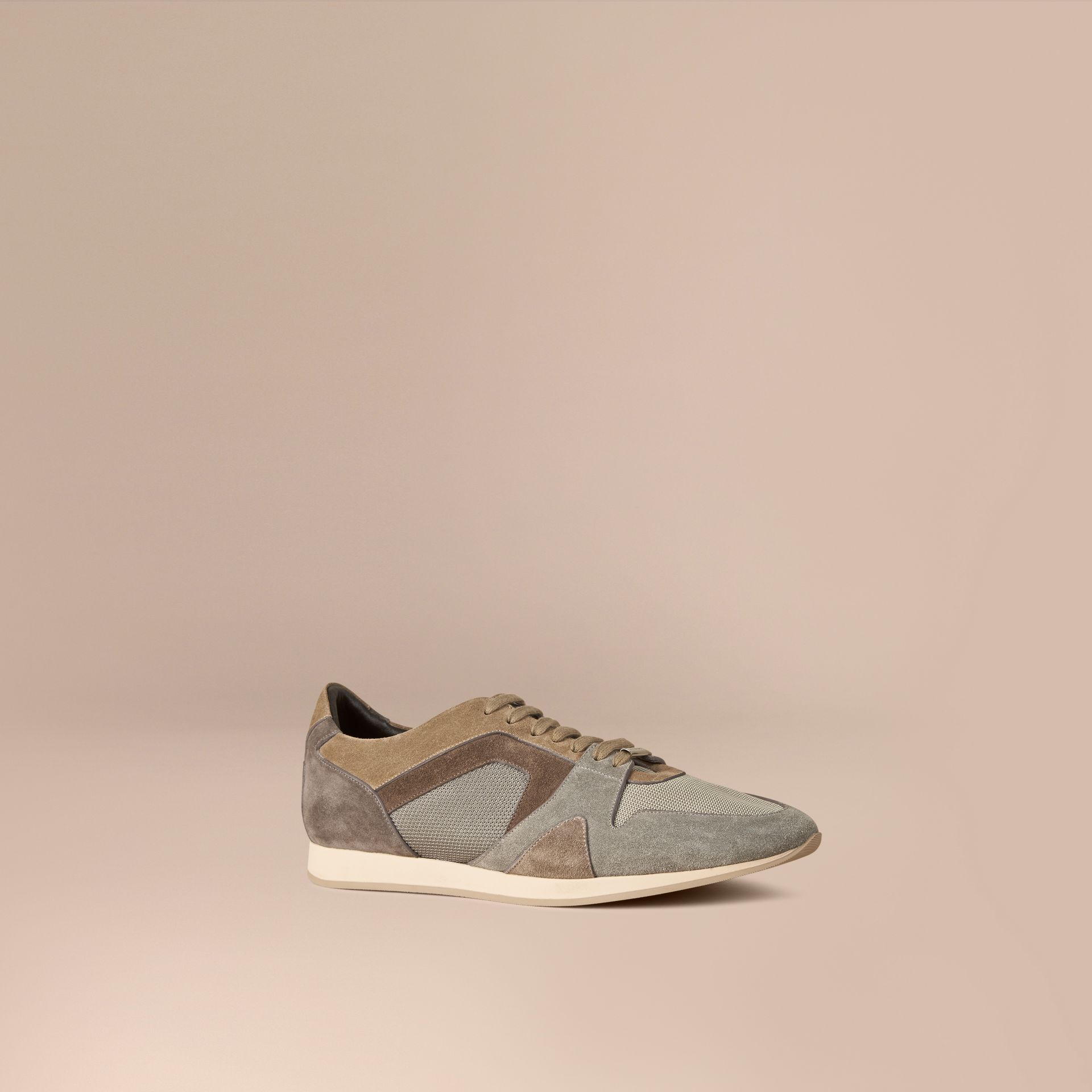Greystone The Field Sneaker in Colour Block Suede and Mesh Greystone - gallery image 1