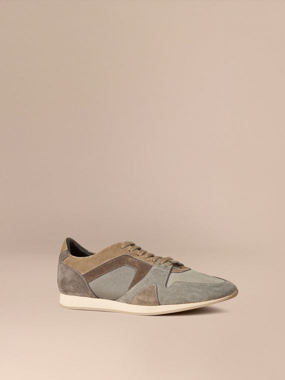 The Field Sneaker in Colour Block Suede and Mesh Greystone