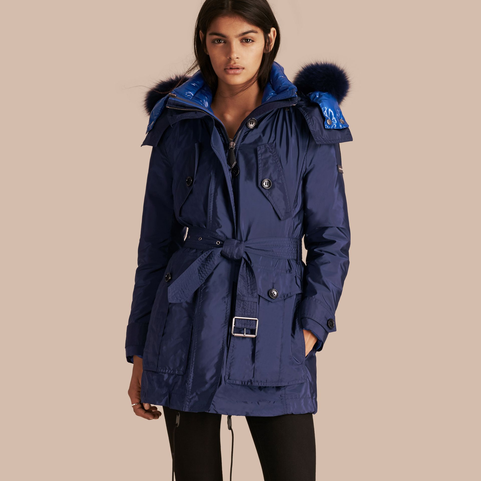 Fur-trimmed Parka with Detachable Down-filled Jacket in Ink Blue - gallery image 1