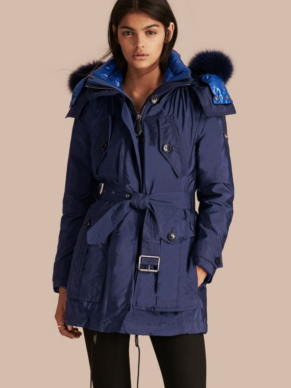 Fur-trimmed Parka with Detachable Down-filled Jacket in Ink Blue
