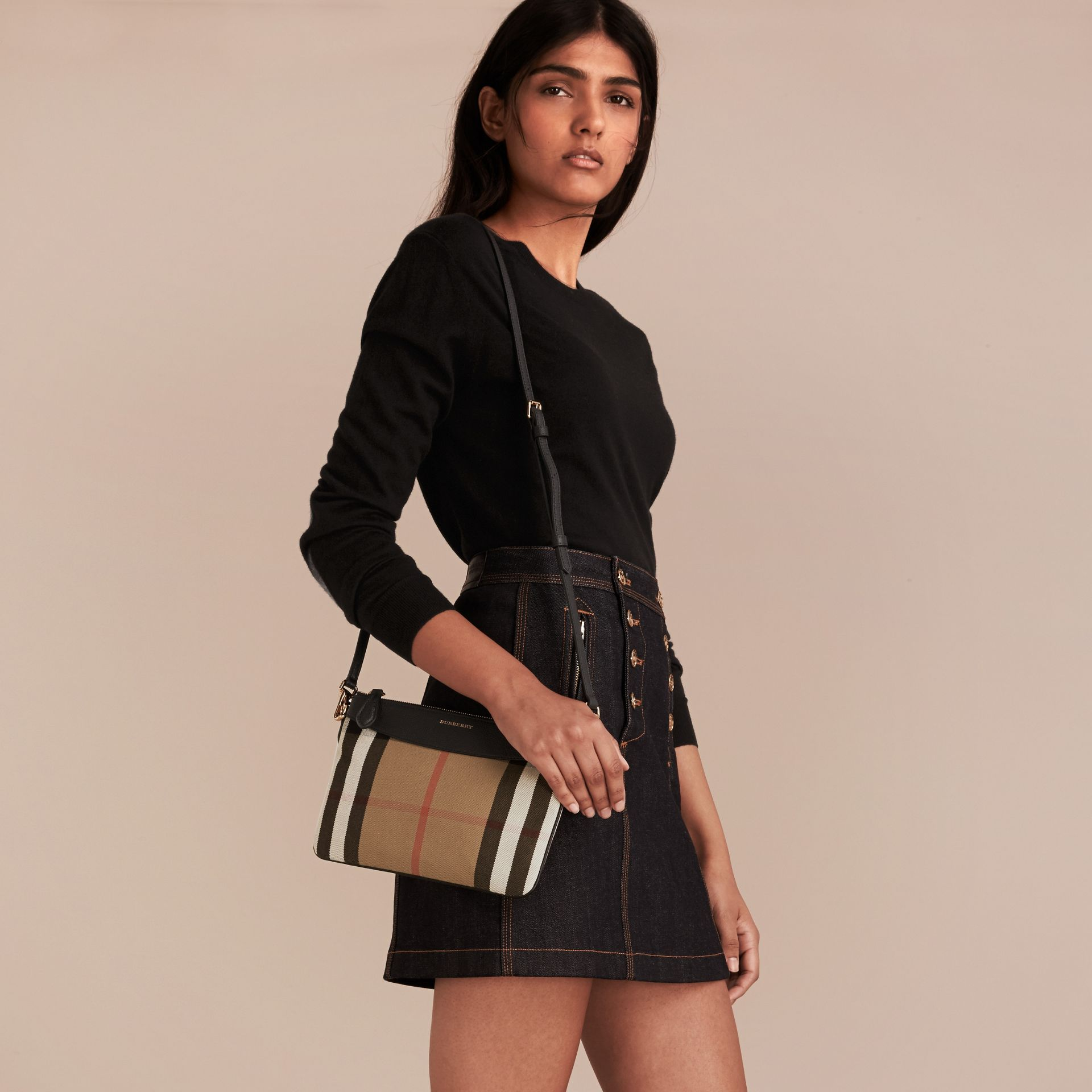 House Check and Leather Clutch Bag in Black - Women | Burberry Singapore - gallery image 2