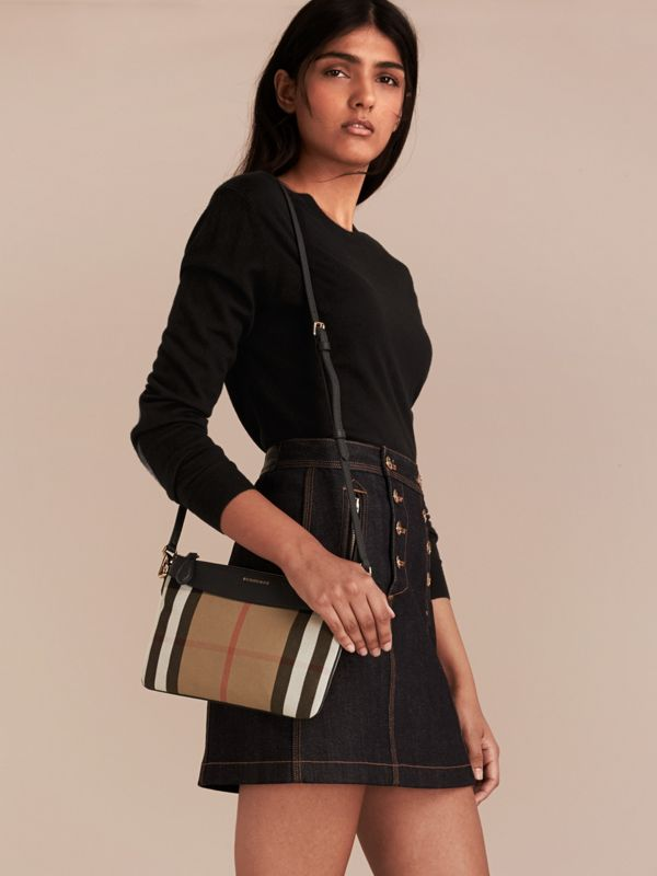 House Check and Leather Clutch Bag in Black - Women | Burberry Singapore - cell image 2