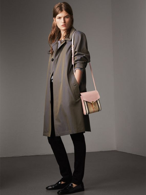 Small Leather and House Check Crossbody Bag in Pale Orchid - Women | Burberry Singapore - cell image 2