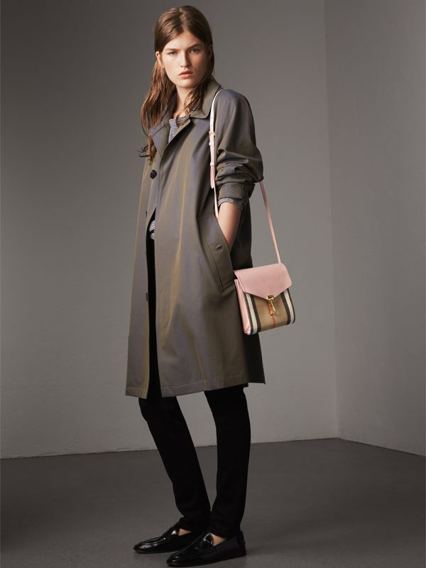 Small Leather and House Check Crossbody Bag in Pale Orchid - Women | Burberry United Kingdom - cell image 2